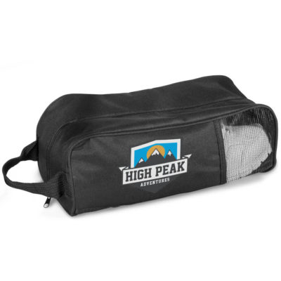 The Norwalk Shoe Bag is made from 600D material and mesh with a carry handle.