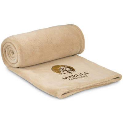 The Cocoon Fleece Blanket And Bag has a khaki colour blanket, made from micro coral fleece with a PVC zip bag.