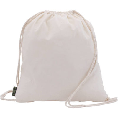 The Curtis Drawstring Bag is made from 100% cotton with string carry handles, a cinch top, flag label tag and one main compartment. Available in a beige/neutral colour.