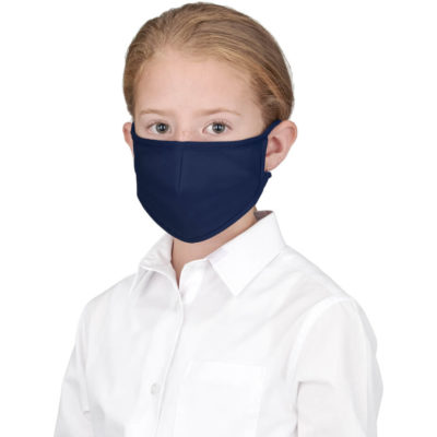 The Alto Kids Tie-Back Face Mask is a black poly cotton twill and polyester face mask in a cone shape with tieback strings to be around around your head