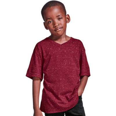 The Kiddies 145g Astro T-Shirt is a innovative space dyed short sleeve red shirt with a white speckled effect. Made from 145g 95% polyester and 5% cotton, with a self fabric v-shaped neckline and fitted cap sleeves