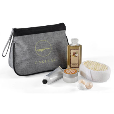 The Haven Toiletry Bag is made from 600D and 300D material.