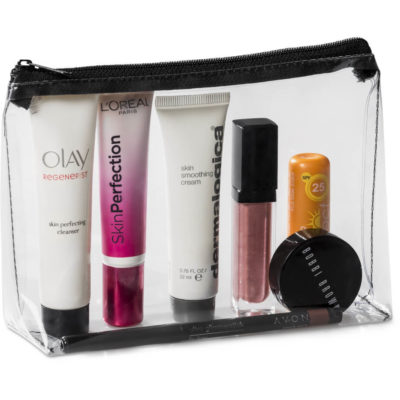 The Chloe Cosmetic Bag is made from transparent PVC material with a black zipper.