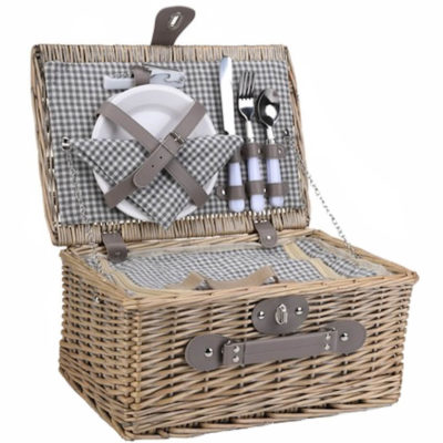 The 2-Person Wicker Picnic Basket is a light brown wicker basket with a 210D lining and inner cooler compartment. Includes a table setting for two people, the set contains two ceramic plates, two stainless steel cutlery sets, plastic glasses, cotton napkins and a stainless steel bottle opener