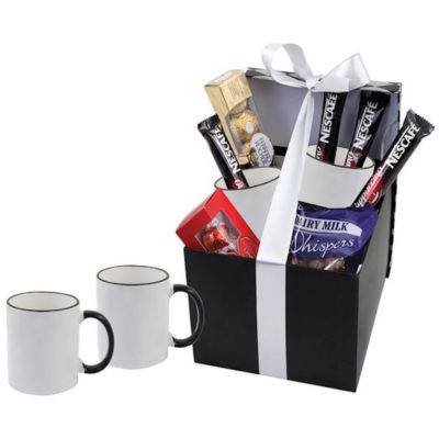 The Sublimation Java Hamper has a two grade A ceramic mugs with a packet of Whispers, a Ferrero Rocher Box, one Lindt Lindor Box and 4 x Cappuccino Sachets