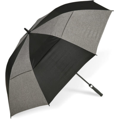 The Slazenger Crandon Umbrella is made from 190T Pongee, PP & fibre glass with a black PP handle and rubberised coating