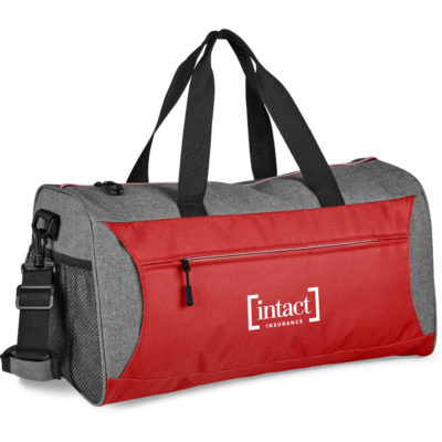 The red Slazenger Wembley Sports Bag has a front and back zippered compartments with a adjustable shoulder strap