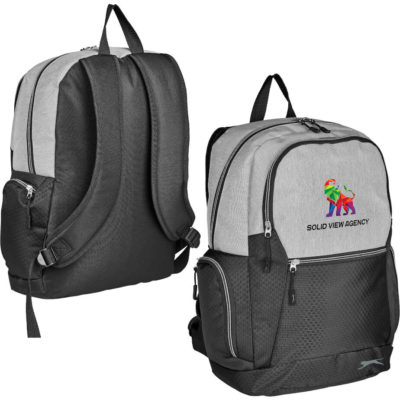 The Slazenger Trent Tech Backpack has two zippered compartments, two side zip pockets and a front zip pocket. Padded adjustable shoulder straps and back panel for support