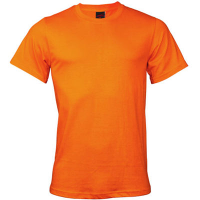 The Premium T-Shirt in the colour orange is made from 100% combed cotton with side seams, double stitched hem on waistline & sleeves, taped shoulders and neckline