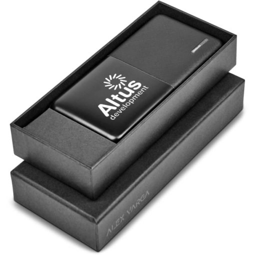 The Alex Varga Asterin 20000mAh Power Bank is a black rectangular ABS powerbank with a 20000mAh battery capacity, micro USB & Type-C input, battery indicator light and includes 3-in-1 charging cable. Comes with a black micrfibre drawstring pouch and packaged in a prebranded black gift