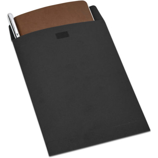 The Alex Varga Small Soft Cover Notebook And Pen Set contains a brown soft cover PU notebook eith 104 cream coloured pages with back to back lines, and a black ink aluminium pen with a chrome coating. Packaged in a black paper pouch