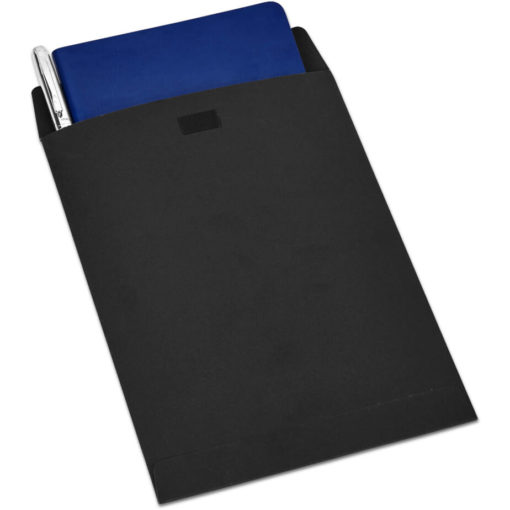 The Alex Varga Small Soft Cover Notebook And Pen Set contains a navy soft cover PU notebook eith 104 cream coloured pages with back to back lines, and a black ink aluminium pen with a chrome coating. Packaged in a black paper pouch