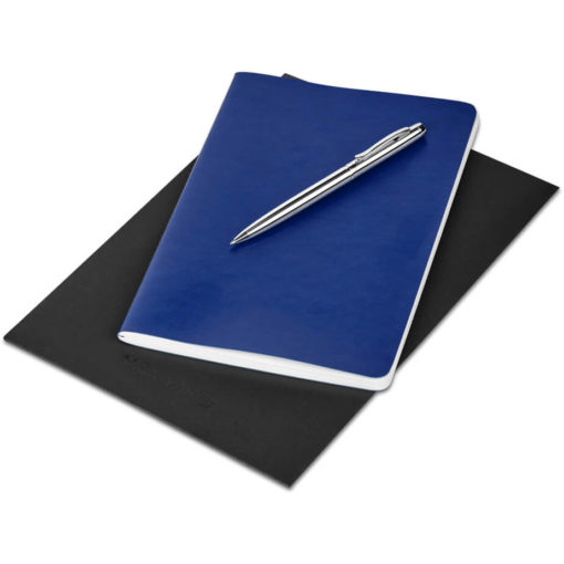The Alex Varga Medium Soft Cover Notebook And Pen Set contains a navy soft cover PU notebook eith 104 cream coloured pages with back to back lines, and a black ink aluminium pen with a chrome coating. Packaged in a black paper pouch