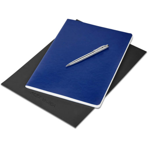 The Alex Varga Large Soft Cover Notebook And Pen Set contains a navy soft cover PU notebook eith 104 cream coloured pages with back to back lines, and a black ink aluminium pen with a chrome coating. Packaged in a black paper pouch