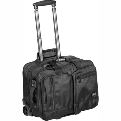 The Alex Varga Truman Tech Trolley Bag has a telescopic handle, a main zip compartment, two front smaller pockets and a padded laptop compartment