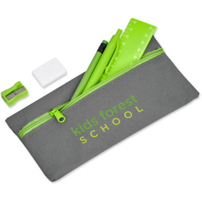The Walsh Stationery Set is a lime green stationery set that contains a sharpened linden wood pencil with grey led and an eraser tip, a plastic push button mechanism pen with black ink, a 15cm plastic ruler with white mm and cm measurements, a plastic sharpener, a white synthetic rubber rectangular shaped eraser and a grey 600D pencil bag with a main compartment and a front zip closure