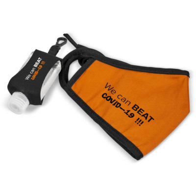 The Saddler Set contains a orange double layer polycotton twill fabric face mask with black tie back strings and black trim detail, a 50ml waterless 70% alcohol based gel hand sanitiser in a PET flip top bottle with a black neoprene pouch and plastic carabiner clip. Packaged inside a frosted white PE ziplock pouch