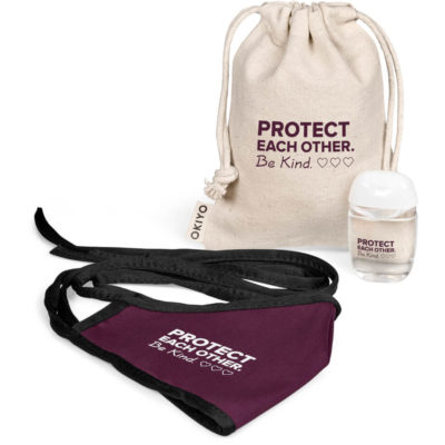 The Logan Adults Set contains a maroon 80/20 polycotton double layer face mask with fabric tie back strings and black trim detail, a 30ml waterless 70% alcohol base gel hand sanitiser in a PET flip top bottle with a white lid and a natural tone 100% 220gsm cotton fabric mini drawstring pouch