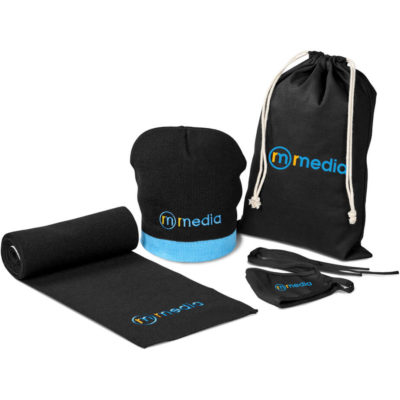 The Brook Winter Set is an all black winter set that contains an acrylic rib knit beanie with light blue trim detail, an acrylic rib knit scarf, a double layer 80/20 polycotton twill face mask with fabric tie backs and a 220gsm cotton drawstring bag with white strings