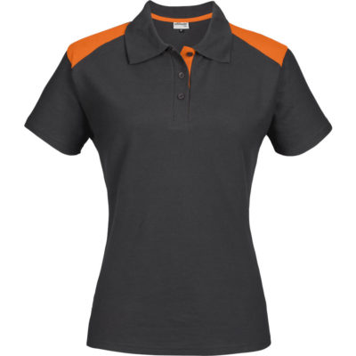 The Ladies Apex Golf Shirt is a dark grey 175g 65% polyester 35% cotton short sleeve golf shirt with contrasting orange front shoulder inserts and matching inner three button placket and knitted collar