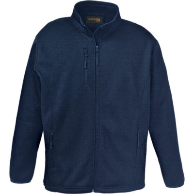The Mens Finch Jacket is a navy tonal soft shell medium weight 320g bonded polyester fabric and includes a set of 5 brightly coloured zip pullers. Features include a funnel collar, fitted sleeves, side panels for a flattering fit, concealed zippered side pockets, a curved hem with high-low hemline, elasticated cuff binding and a draw cord stopper at the hem