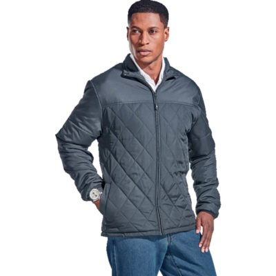 The Mens Rochfort Jacket is a steel grey 100g 100% polyester medium weight fully lined and padded jacket. With a funnel neck collar with binding finish, welt pockets, diamond quilting on the body, a front yoke that isnt quilted and an inverted zip with rubber zip puller