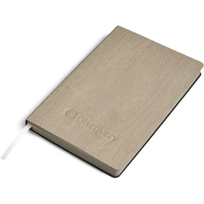 The Oakridge Soft Cover A5 Notebook is a beige cork and thermo PU notebook with a PU textured soft cover, matching painted page edges and a satin ribbon bookmark. Contains 304 cream coloured lined pages