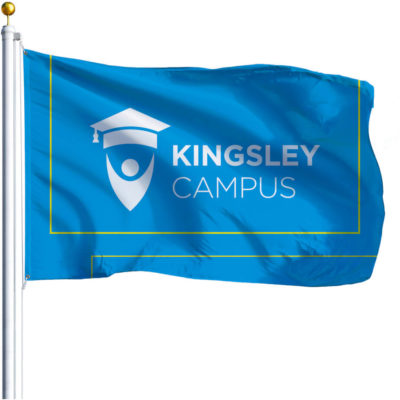 The Champion Corporate Pole Flag is a ployester warp knit anti fray fabric display flag with a rope and toggle for easy attachment to a pole and a neat hem finish