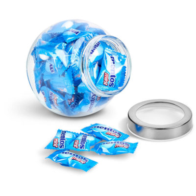 The Mentos Classic Glass Candy Jar contains 50 individually wrapped mint chewy sweets in a transparent glass jar with two flat surfaces to rest on a steel & acrylic screw on lid