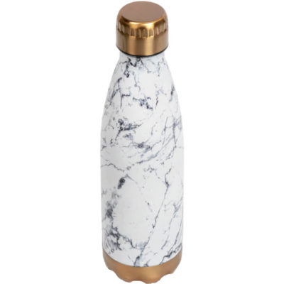 The Marbella Double-Wall Water Bottle is made from stainless steel outer & inner with a 500ml capacity. The bottle has a bronze colour base and twist-off lid with a marble design.