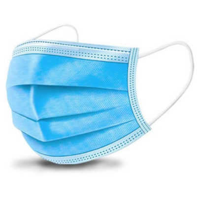 The Disposable Protective 3-Ply Face Mask is a blue disposable face mask made from 3-ply non woven fabric, with white elastic ear loops and a white inner layer. Soft, breathable while still providing proteciton and designed for comfort and all day wear