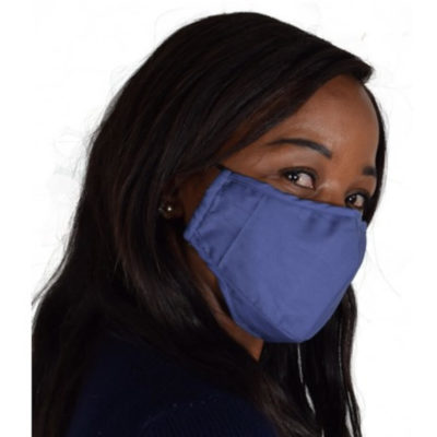 The 3 Layer Cotton Face Mask is a blue soft cotton 3-ply washable face mask with adjustable elasticated earloops