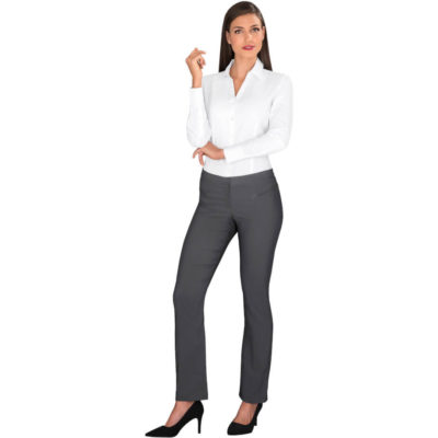 The Ladies Long Sleeve Carolina Shirt is a white 105g/m2 60% polyester, 40% cotton dobby weave long sleeve dress shirt with a unique surface interest, dobby weave design. Features an open neck collar, front and back darts, bust darts, two button cuff, back yoke and curved hem
