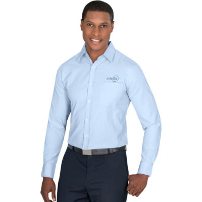 The Mens Long Sleeve Carolina Shirt is a sky blue 105g/m2 60% polyester, 40% cotton dobby weave long sleeve dress shirt with a unique surface interest, dobby weave design. Features a chest pocket, two button cuff and back yoke with box pleat