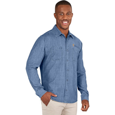 The Mens Long Sleeve Eastwood Shirt is a denim blue 5.2oz 100% cotton cross hatch denim long sleeve dress shirt. With two front pockets, a back yoke with knife pleats, button up placket