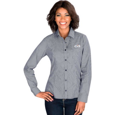 The Ladies Long Sleeve Coventry Shirt is a navy 65% polyester 35% cotton with fine check pattern and a contrast chambray at the inner collar stand, placket and cuff. Features a two button cuff, chest pocket, front and back darts a back yoke and a curved hem