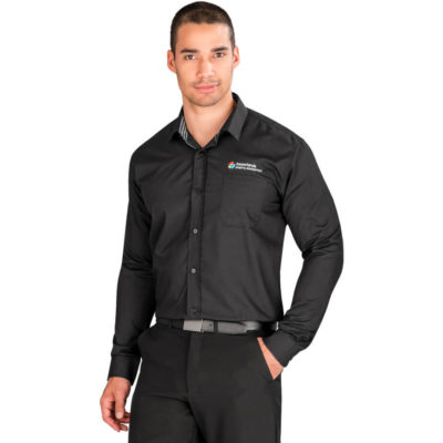 The Mens Long Sleeve Warrington Shirt is a black 65% polyester35% cotton poplin dress shirt with a contrast check detail at the inner collar stand, placket and cuff, a chest pocket, a back yoke with knife pleats and a curved hem