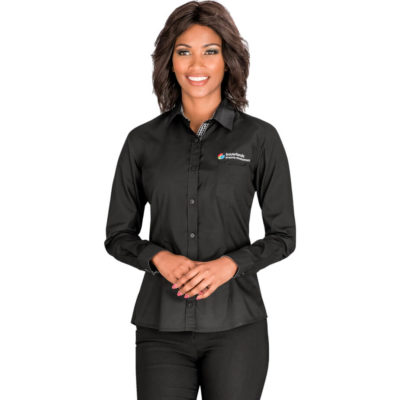 The Ladies Long Sleeve Warrington Shirt is a black 65% polyester35% cotton poplin dress shirt with a contrast check detail at the inner collar stand, placket and cuff, a chest pocket, front and back darts and a curved hem