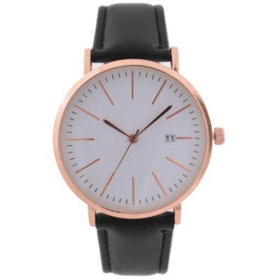 The Gents Classic Date Watch is a black leatherette strap watch with a round rose gold trim face, hour and minute interval markers, pointed arms and a side knob to adjust the time and date