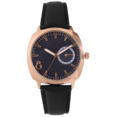 The Double Layer Watch is a black leatherette strap watch with a round rose gold trim face, hour and minute interval markers, pointed arms, a clearly marked 8, and a side knob to adjust the time and date