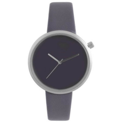 The New Era Watch is a grey leatherette strap wrist watch with a round face, silver trimmings, an adjustable knot and silver arms