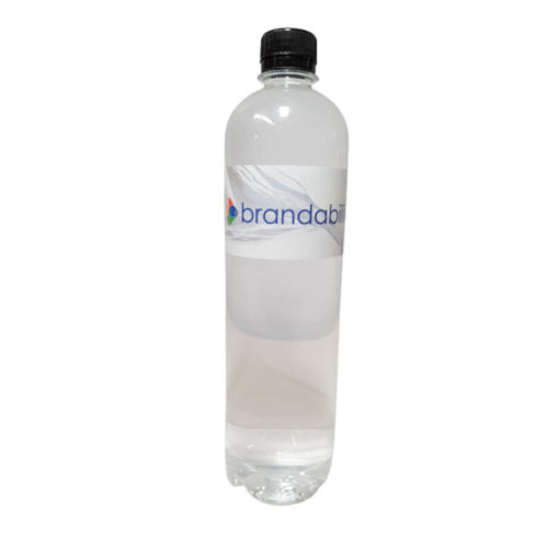 The Bottled Water is a 750ml transparent plastic bottle with a black screw on lid and label containing mineral content information