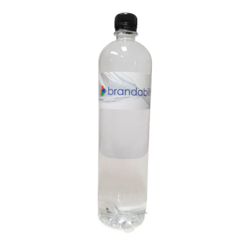 The Bottled Water is a 1L transparent plastic bottle with a black screw on lid and label containing mineral content information