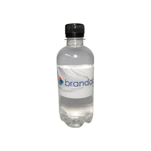 The Bottled Water is a 350ml transparent plastic bottle with a black screw on lid and label containing mineral content information