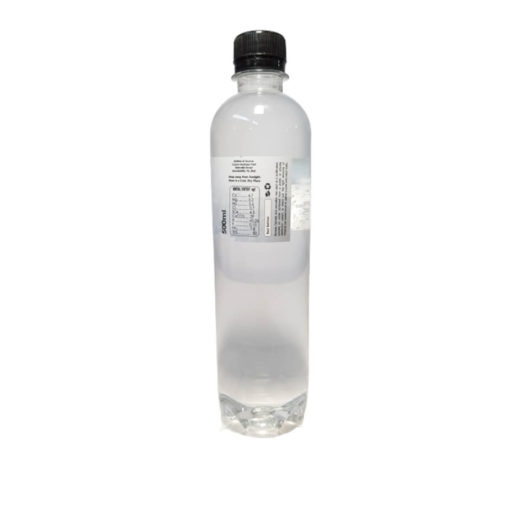 The Bottled Water is a 500ml transparent plastic bottle with a black screw on lid and label containing mineral content information