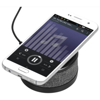 The Aberdeen Wireless Charger & Bluetooth Speaker is a round black ABs & polyester mobile accessory designed to support playback from most Bluetooth enabled devices and supports wireless charging. Includes USB charging cable