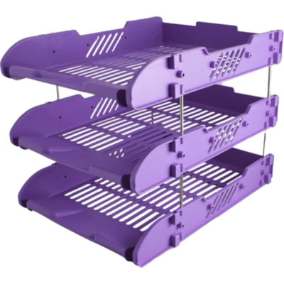 The 3-Layer File Holder is a purple polypropylene 3-tier desk item designed to store papers and documents. With 3-tiers and 8 detachable metal pins