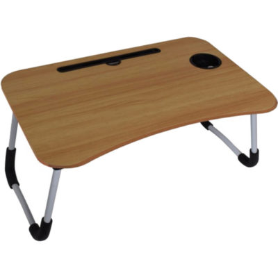 The Foldable Laptop Table & Serving Tray is a light brown MDF wooden tray with foldable aluminium legs and soft edges. Features a curved design, a built in groove for a iPad or Kindle, cup holder and legs that fold flat for easy sotrage. Can be used as a tray, table or desk