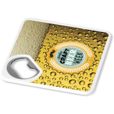 The Good Times Coaster & Bottle Opener is a square ABS solid white coaster with an EVA surface and built in metal bottle opener
