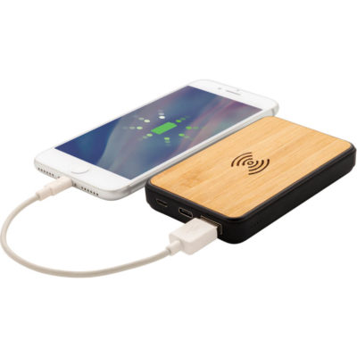 The Anti-Germ Bamboo 5000mAh Wireless Powerbank is a slim rectangular shaped natural bamboo powerbank treated with Biomaster technology to prevent the growth of harmful microorganisms on the surface. Features a soft touch trim finish, 5W wireless charging pad, Type-C & micro USB connection, light to indicate battery capacity and a 5000mAh rechargeable lithium ion battery
